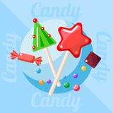 Bożenarodzeniowi cukierki i cukierki Fotografia Stock
