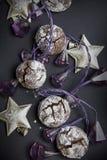 Bożenarodzeniowi czekoladowi crinkles Fotografia Stock