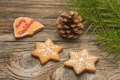 Bożenarodzeniowi domowej roboty piernikowi ciastka na drewnianym tle Fotografia Royalty Free