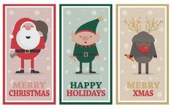 Bożenarodzeniowi sztandary z Santa, elfem i reniferem, Fotografia Royalty Free