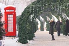 Bożenarodzeniowi wakacje w zima parku Zdjęcia Royalty Free