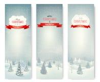 Bożenarodzeniowi zima krajobrazu sztandary. Fotografia Royalty Free
