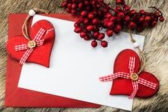 Bożenarodzeniowy backgound z czerwonymi sercami Zdjęcia Stock