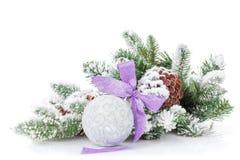 Bożenarodzeniowy bauble z purpurowym faborkiem i jedlinowym drzewem Fotografia Stock