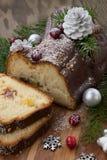 Bożenarodzeniowy czekoladowy yule beli tort fotografia stock