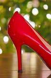 Bożenarodzeniowy czerwony szpilki but Obrazy Stock