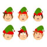 Bożenarodzeniowy elfa emoji Emocja set Agresywny i dobry pomagier Obrazy Royalty Free