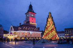 Bożenarodzeniowy jarmark w Brasov Rumunia Zdjęcia Stock