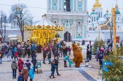 Bożenarodzeniowy jarmark w Kijów Obrazy Royalty Free