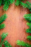 Bożenarodzeniowy jedlinowy drzewo na drewnianej desce Obrazy Royalty Free