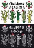 Bożenarodzeniowy kaktus, wektoru set Zdjęcia Royalty Free
