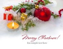 Bożenarodzeniowy kartka z pozdrowieniami - rabatowa dekoracja Fotografia Royalty Free