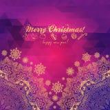 Bożenarodzeniowy kartka z pozdrowieniami z dekoracyjnym drzewem od  Obrazy Stock