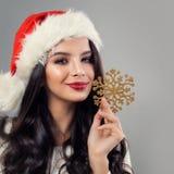 Bożenarodzeniowy kobiety mody model w Santa kapeluszu Fotografia Royalty Free
