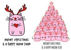 Bożenarodzeniowy kota drzewo, wektorowa ilustracja ilustracja wektor
