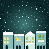 Bożenarodzeniowy miasteczko na snowing Obrazy Stock