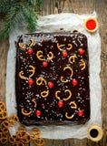 Bożenarodzeniowy renifera tort Zdjęcia Royalty Free