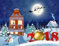 Bożenarodzeniowy rocznika kartka z pozdrowieniami na zimy wiosce Fotografia Stock