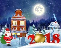 Bożenarodzeniowy rocznika kartka z pozdrowieniami na zimy wiosce Obrazy Royalty Free