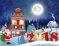 Bożenarodzeniowy rocznika kartka z pozdrowieniami na zimy wiosce Zdjęcie Royalty Free