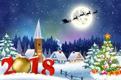 Bożenarodzeniowy rocznika kartka z pozdrowieniami na zimy wiosce Zdjęcia Royalty Free
