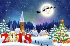 Bożenarodzeniowy rocznika kartka z pozdrowieniami na zimy wiosce Zdjęcia Stock