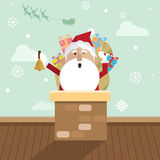Bożenarodzeniowy Santa Claus i komin Zdjęcie Stock