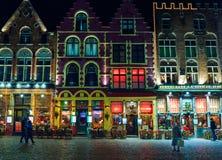 BOŻENARODZENIOWY Stary Targowy kwadrat w Bruges BRUGES BELGIA, GRUDZIEŃ - 05 2016 - Zdjęcie Stock