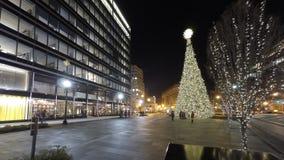 Bożenarodzeniowy wakacyjny nighttime zakupy przy centrum miasta w washington dc Fotografia Royalty Free
