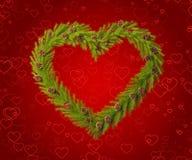 Bożenarodzeniowy wianek w formie serca Zdjęcie Royalty Free