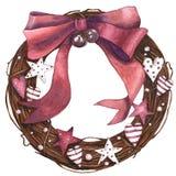 Bożenarodzeniowy wianek z ornamentami i dzwonami zdjęcie royalty free