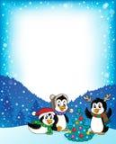 Bożenarodzeniowych pingwinów tematowa rama 2 royalty ilustracja