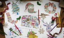 Bożenarodzeniowych tematów rysunków kolorowy kreatywnie Obraz Stock
