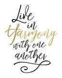 Bo i harmoni med varandra royaltyfri illustrationer