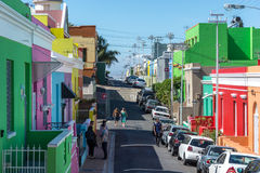 The Bo-Kaap in Cape Town is known for its brightly painted house stock image