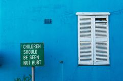 Bo Kaap, Children sign in an Alley. Royalty Free Stock Photography