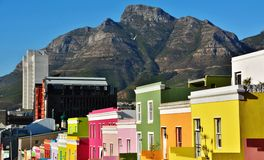 Bo-Kaap and Devils Peak Royalty Free Stock Image