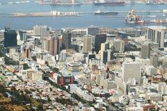 Bo kaap nighborhood、港口和开普敦商业区  免版税库存图片