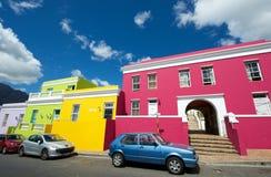 Bo-kaap Street scene and cars,cape Town. Cape Town,Bo-Kaap-19 February 2015: Vibrant colours and quaint homes in Bo-Kaap street scene, Cape Town Stock Photos
