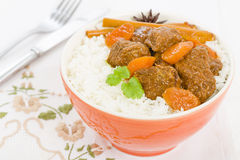 Bo Kho. Vietnamese beef stew cooked with lemongrass, star anise, bay leaf and cassia bark served with rice Stock Photos