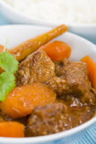 Bo Kho. Vietnamese beef stew cooked with lemongrass, star anise, bay leaf and cassia bark served with rice Royalty Free Stock Photography