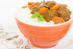 Bo Kho. Vietnamese beef stew cooked with lemongrass, star anise, bay leaf and cassia bark served with rice Royalty Free Stock Image