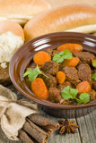 Bo Kho. Vietnamese beef stew cooked with lemongrass, star anise, bay leaf and cassia bark served with rice Royalty Free Stock Photo