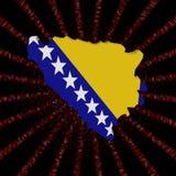 Bośnia mapy flaga na czerwonej hex kodu wybuchu ilustraci ilustracji
