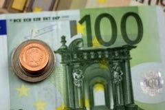 Bośniacka odwracalna ocena, monety na euro Fotografia Stock