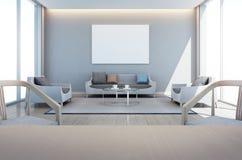 Bo och matsal i modernt hus med konstramen Royaltyfria Bilder