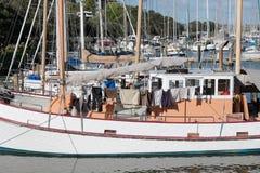 Bo ombord fartyget på den Whangarei marina royaltyfri bild