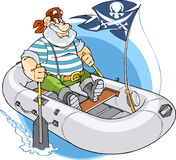 Boаt. Man floats in inflatable boat.Inside the boat a pirate flag and man is looking for adventure Stock Image