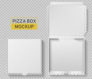 Bo?te ? pizza Paquet ouvert et fermé de pizza, maquette blanche de papier de carton de vue supérieure, la livraison de repas, déj illustration libre de droits