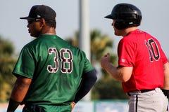 Bo Thompson and Mason Robbins at 1st Base Stock Images
